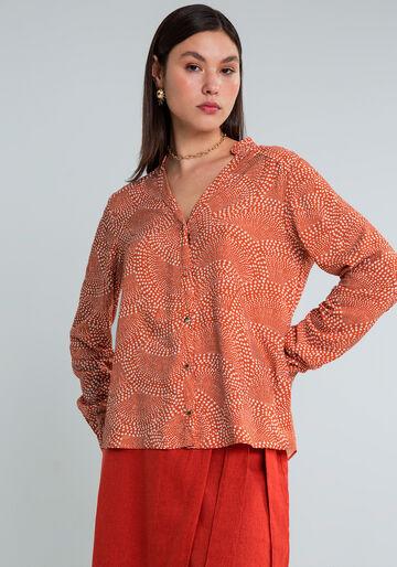 Camisa Manga Longa sem Gola Estampa, IRRADIE, large.