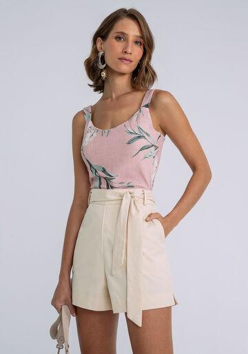 Shorts Cintura Média com Faixa, BEGE, large.