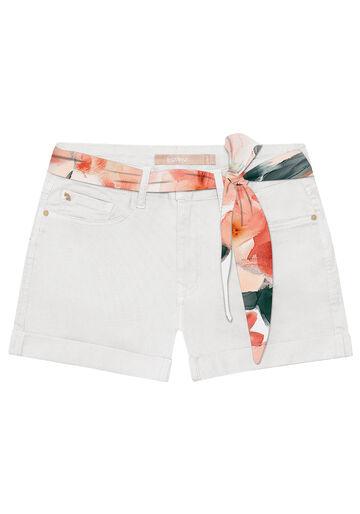 Shorts Sarja com Elastano, BRANCO OFF WHITE, large.
