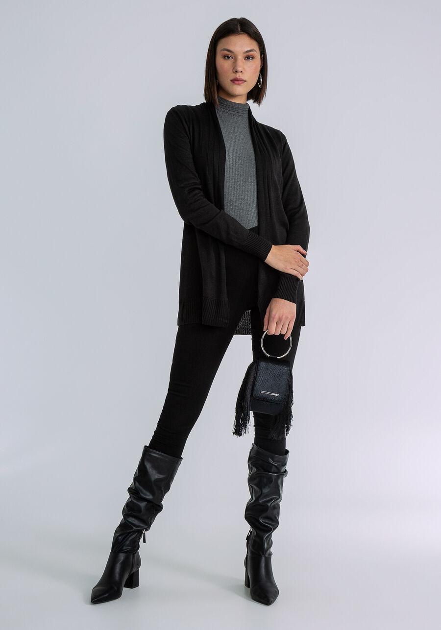 Sobreposição tricô manga longa, PRETO, large.