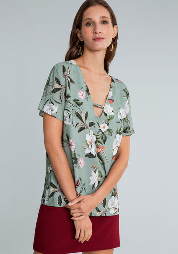 Blusa Decote V Detalhe Trança Estampa, FLORAL, large.