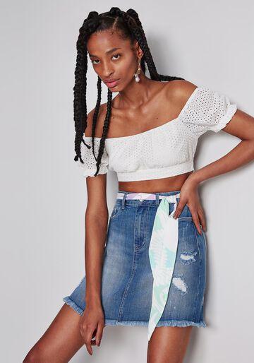 Saia Jeans Cintura Alta Cinto, JEANS, large.