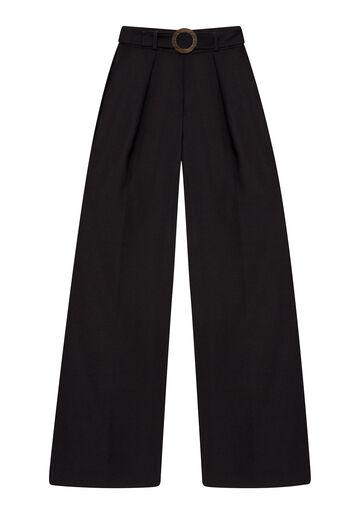 Calça Pantalona com Cinto, PRETO, large.