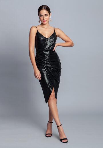 Vestido Malha Paetê Midi, VERDE, large.