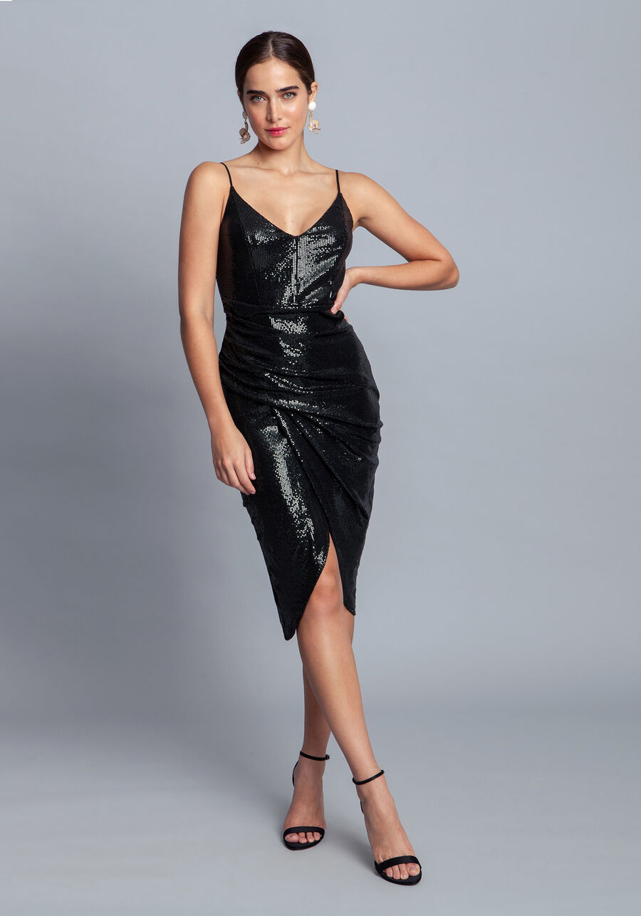 Vestido Malha Paetê Midi, , large.