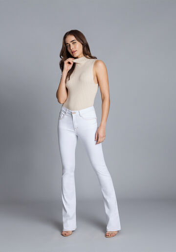 Calça Jeans Bootcut Malibu, BRANCO, large.