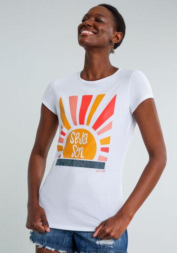 T-shirt Estampada Seja Sol, BRANCO, large.