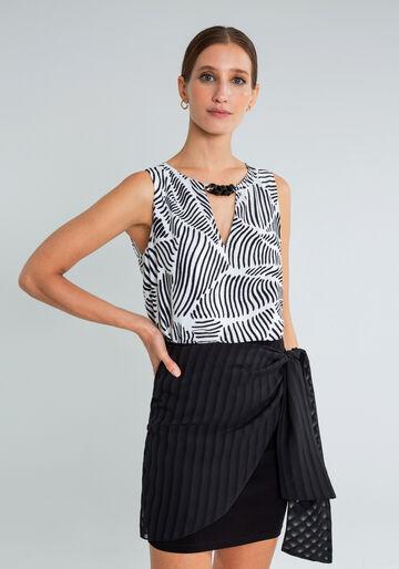 Blusa Detalhe Decote Estampada, REFLEXOS, large.