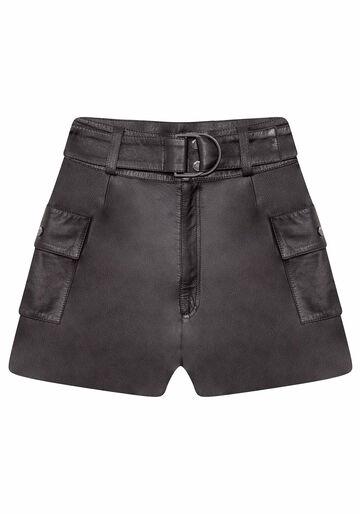 Shorts Cintura Alta em Couro, PRETO, large.