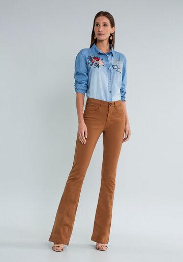 Camisa Jeans Manga Longa Bordado, JEANS, large.