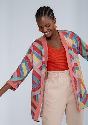 Blusa Kimono com Faixa Estampa, ALEGRIA, large.