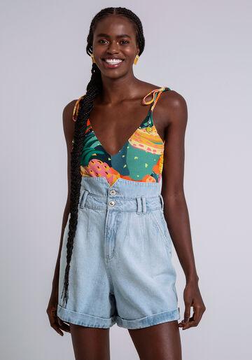 Shorts Jeans Cintura Alta com Recorte, JEANS, large.