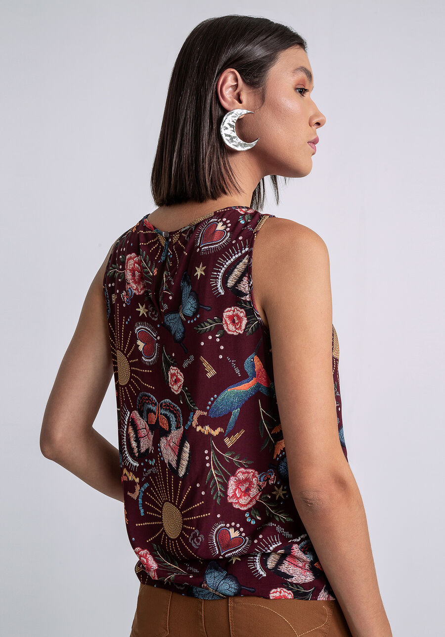 Blusa Detalhe Decote Estampada, JARDIM BORDADO, large.