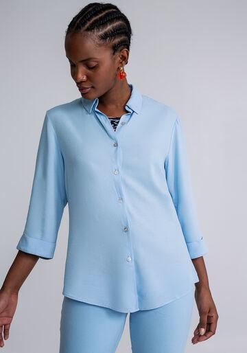 Camisa Manga 3/4 Clássica, AZUL, large.