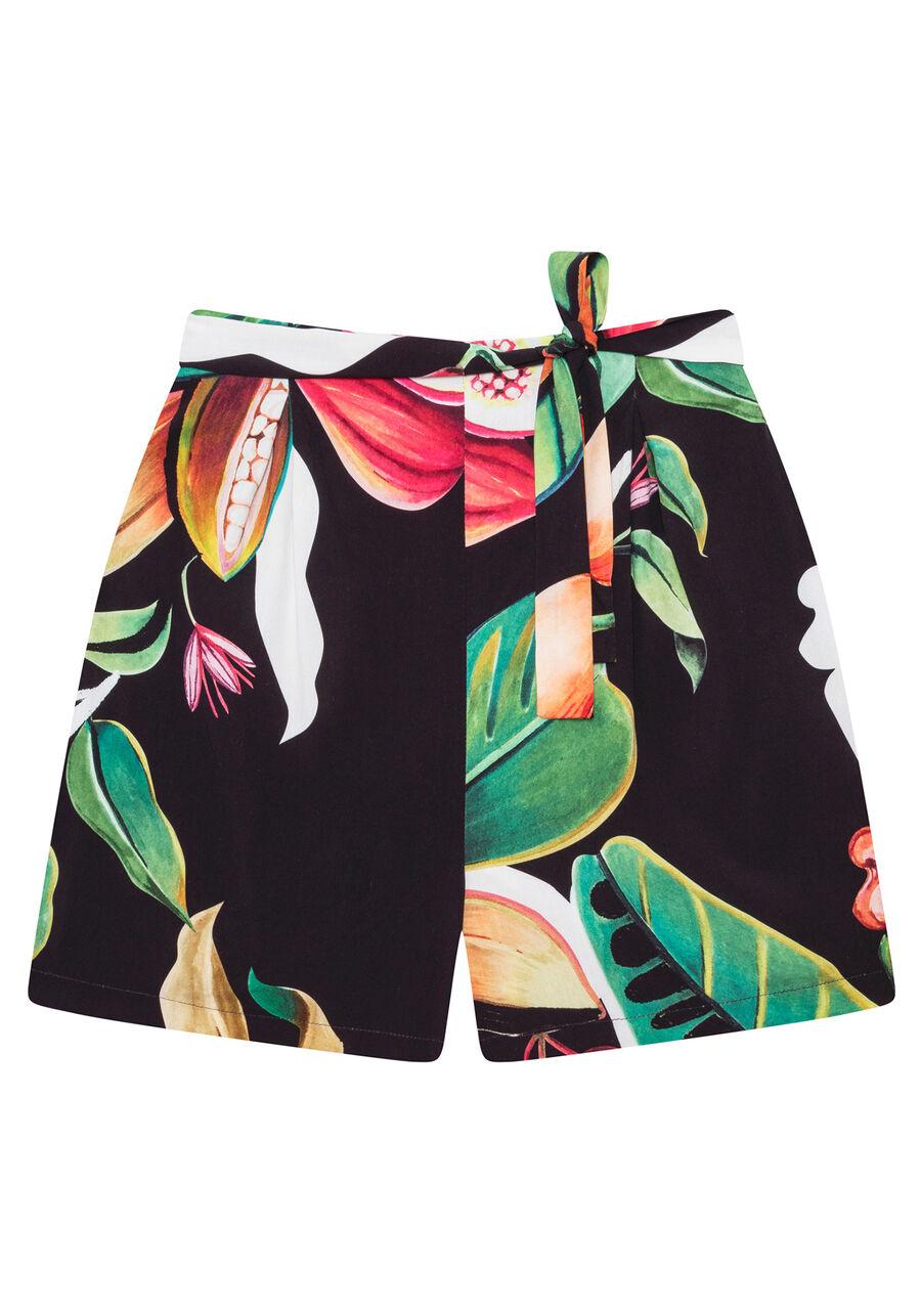 Shorts Cintura Média Cinto Estampa, CACAU, large.