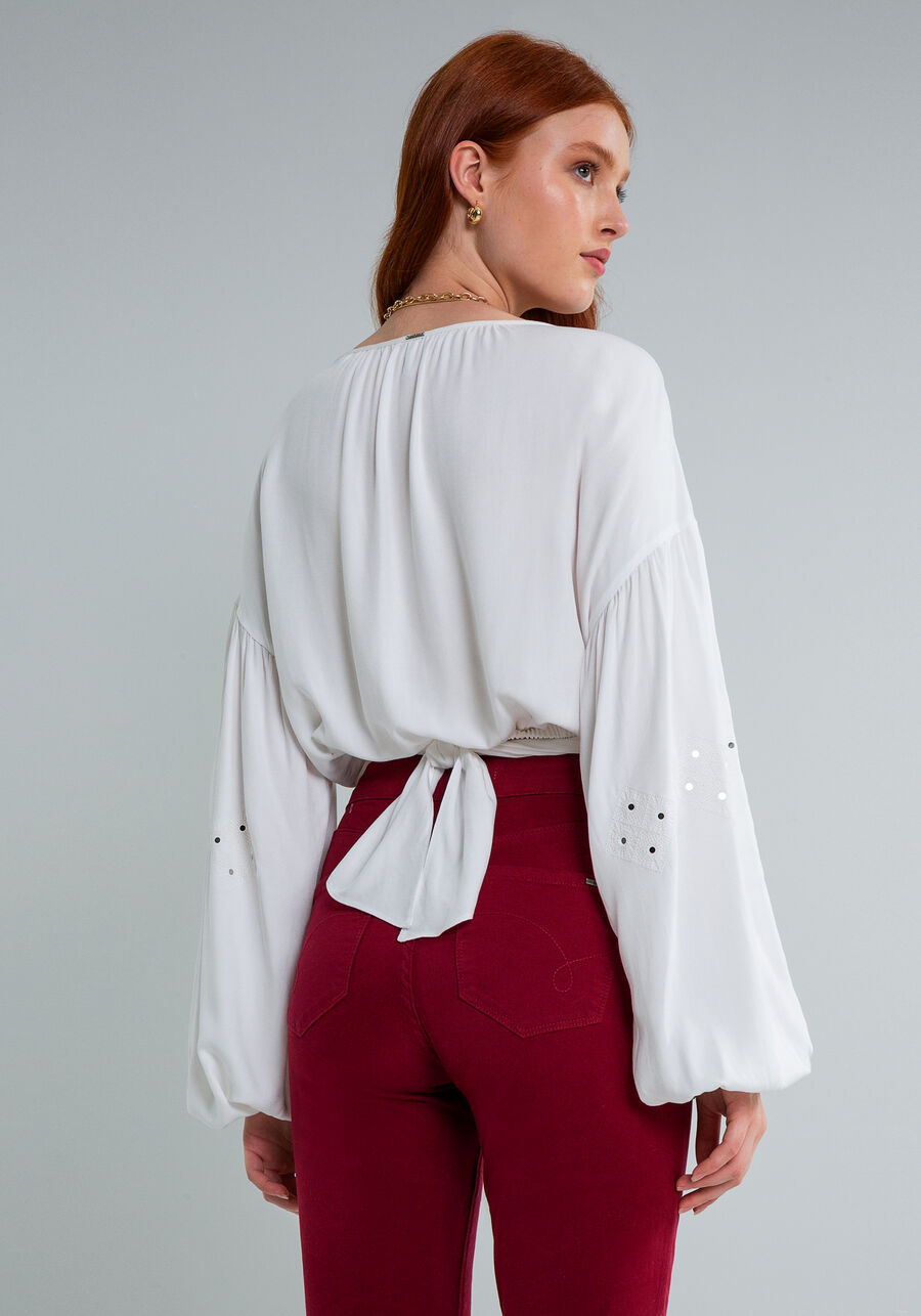 Blusa Cropped Transpasse Bordado, BRANCO OFF WHITE, large.