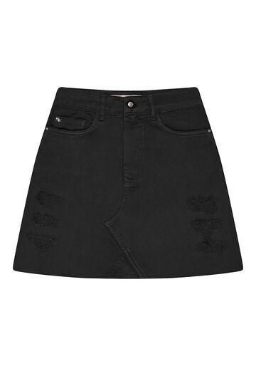 Saia Curta Linha A Jeans, PRETO, large.