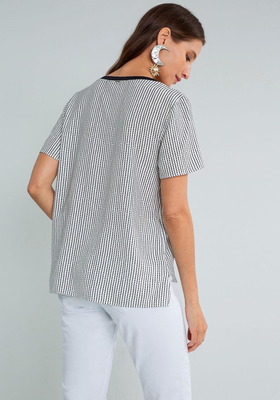 Blusa Decote V Retilínea Estampa, PESPONTOS, large.