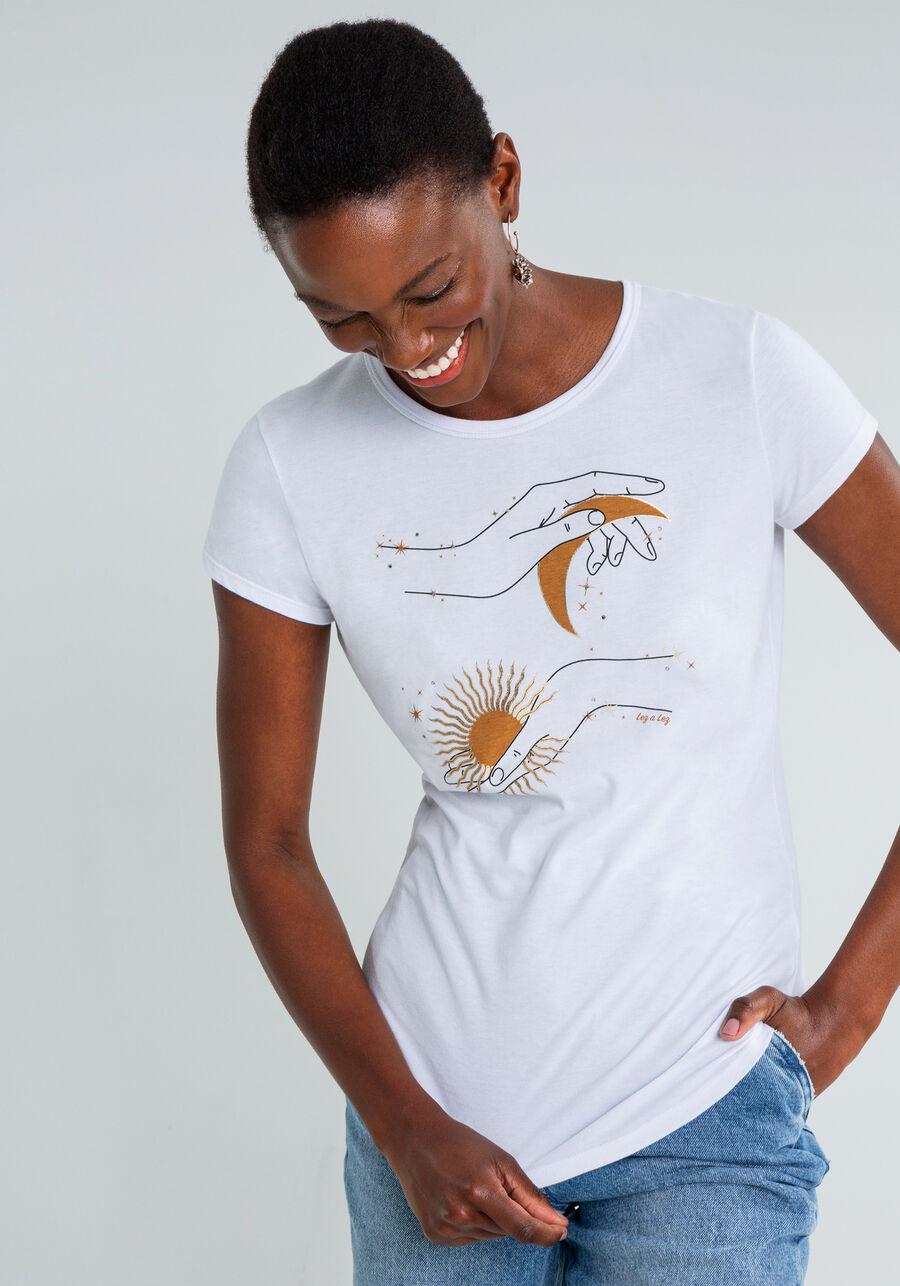 T-shirt Estampa Metalizada Strass, BRANCO, large.