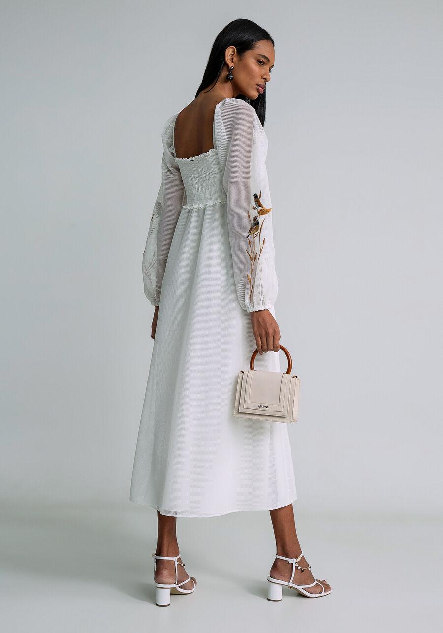 Vestido Midi Tela e Bordado, BRANCO OFF WHITE, large.