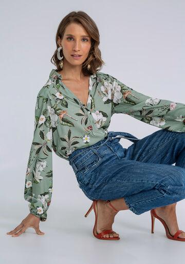 Camisa Manga Longa Bufante Estampada, FLORAL, large.