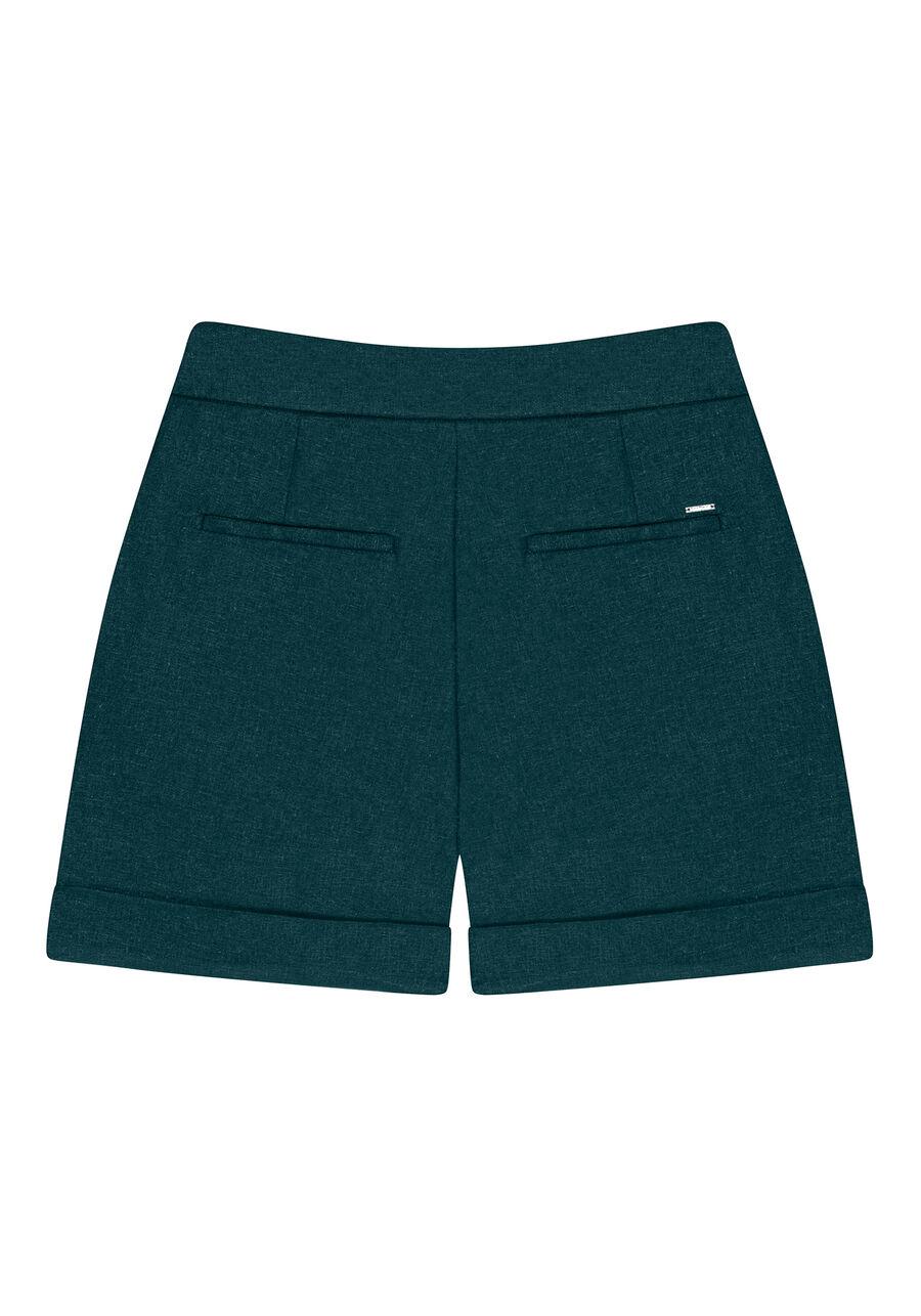 Shorts Cintura Média Pregas Linho, VERDE, large.