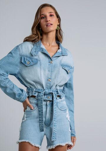 Jaqueta Jeans Cropped Faixa, JEANS, large.