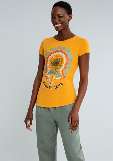 T-shirt Estampada Radiate Love, AMARELO, large.