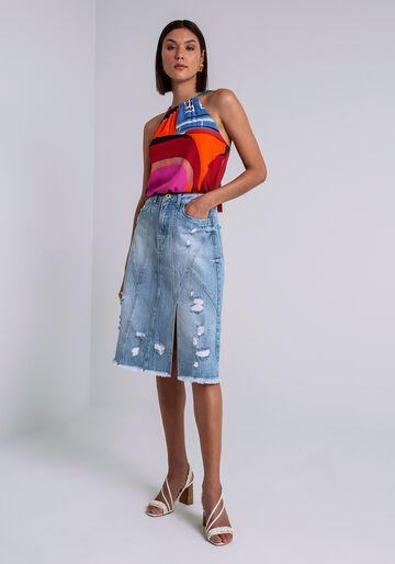 Saia Midi Jeans com Fenda, JEANS, large.