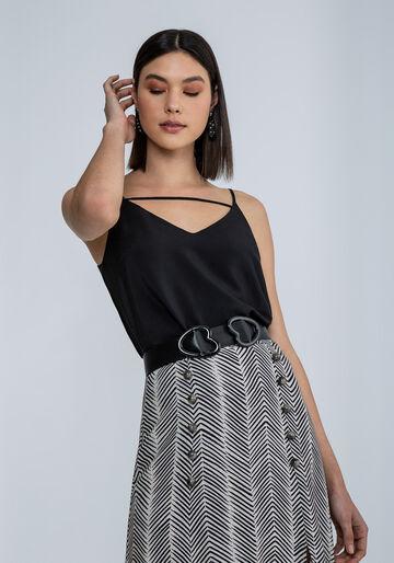 Blusa com Alças Decote V Detalhe, PRETO, large.