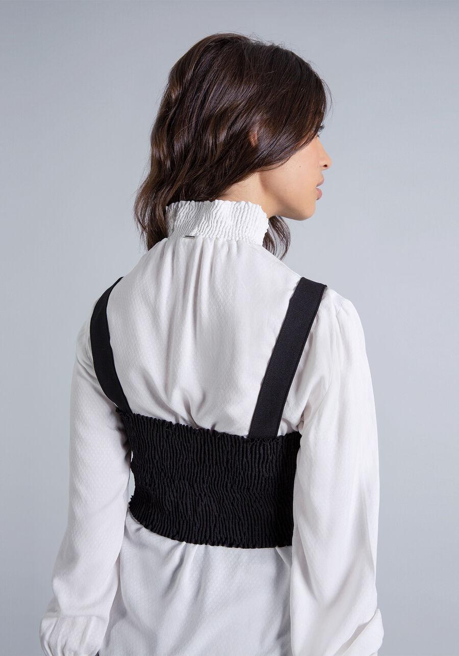 Blusa com Sobreposição Top, BRANCO OFF WHITE, large.