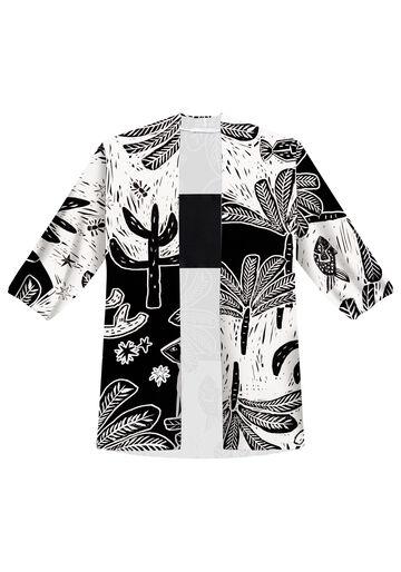 Kimono Alongado com Top em Viscose, XILOGRAVURA, large.