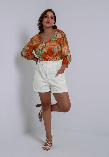 Shorts Sarja Hot Pant Clochard Califórnia, BRANCO OFF WHITE, large.