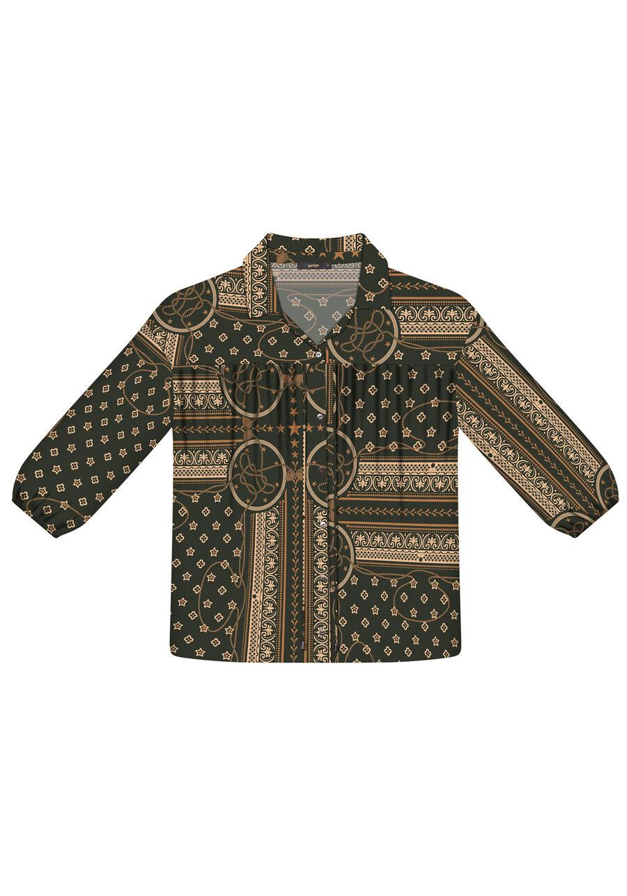 Camisa Manga 3/4 Estampada Tecido, , large.