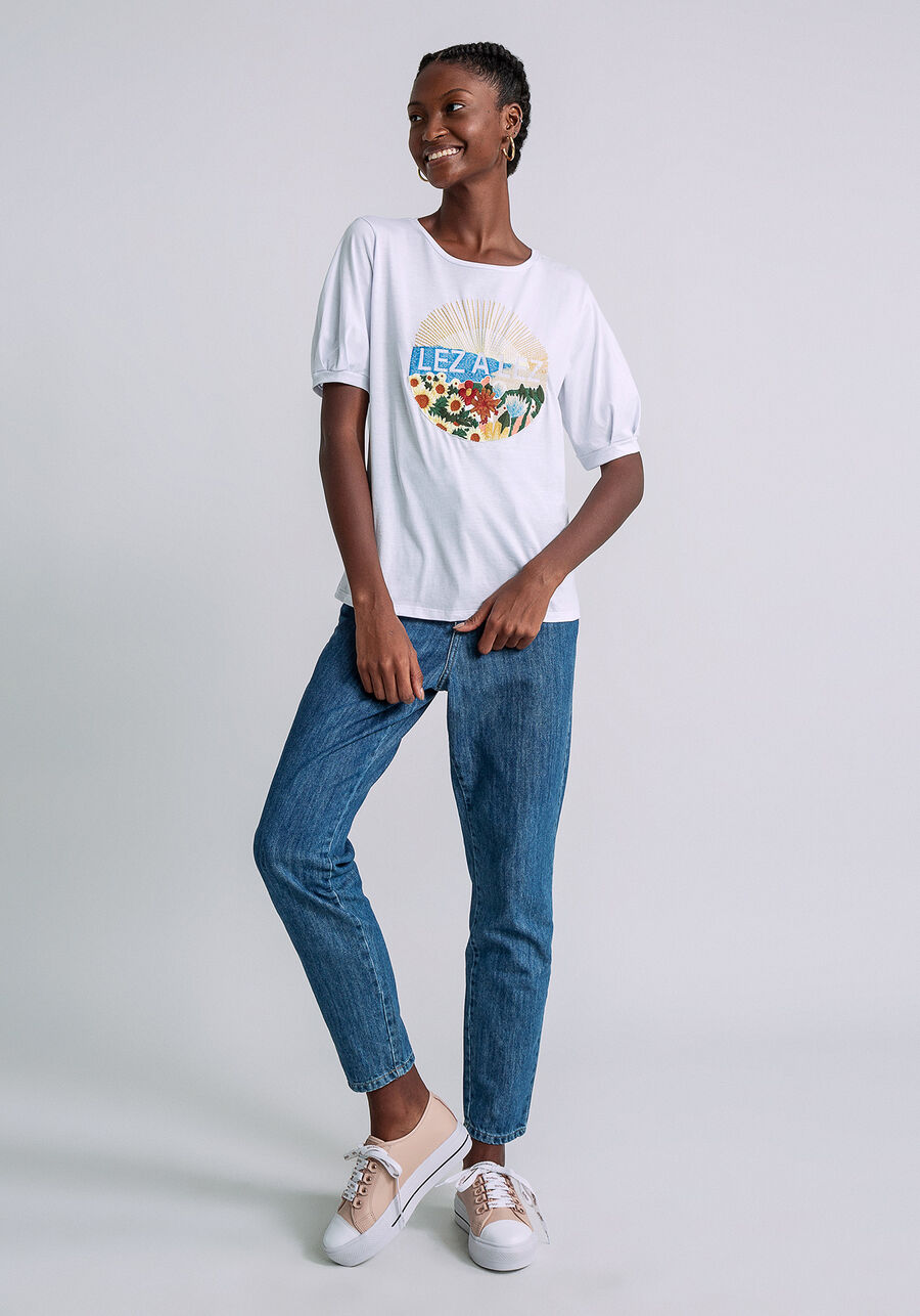 T-shirt Manga Bufante Estampada, BRANCO, large.