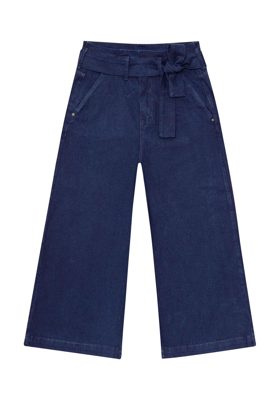 Calça Jeans Pantacourt com Cinto, JEANS, large.