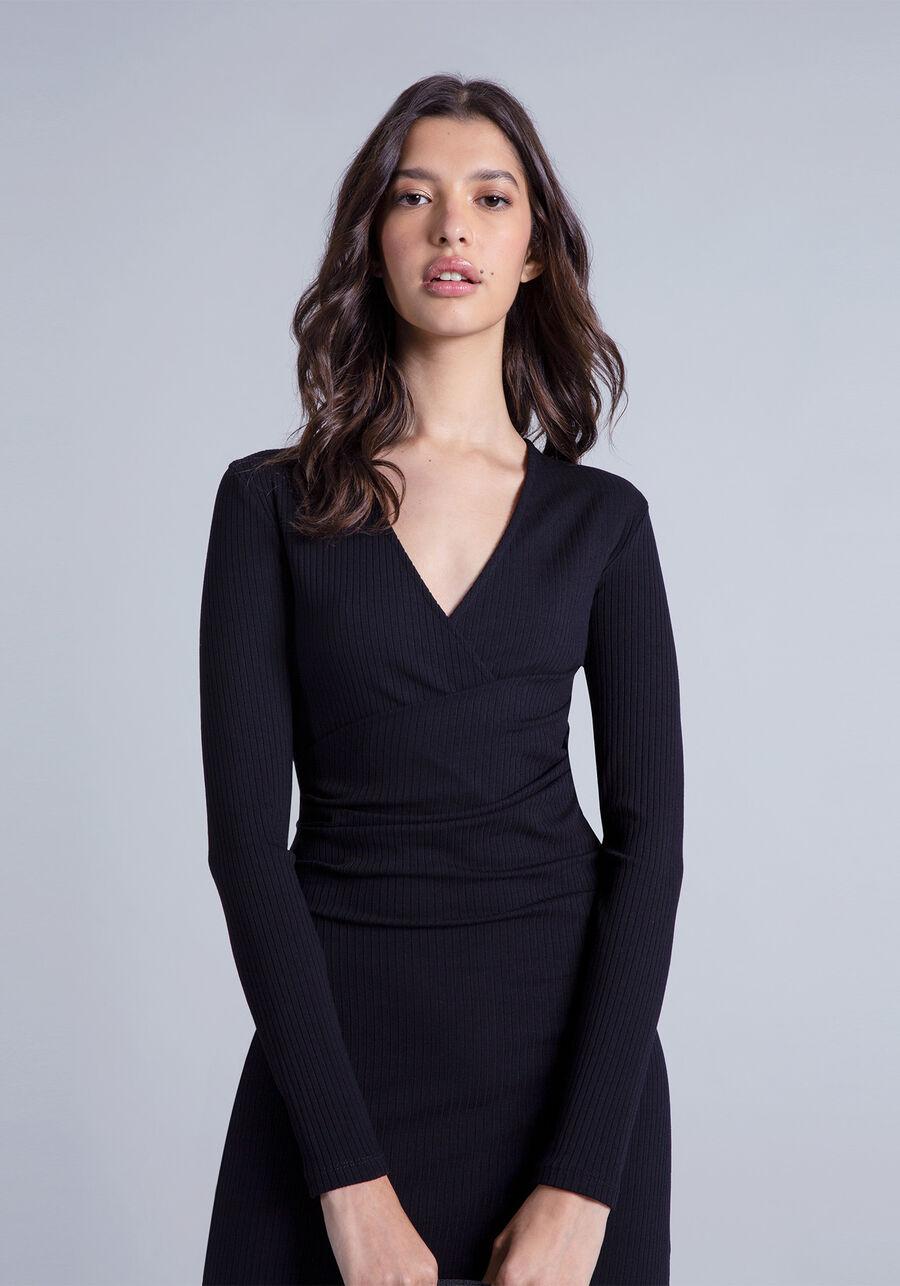 Vestido Mídi Transpassado, PRETO, large.