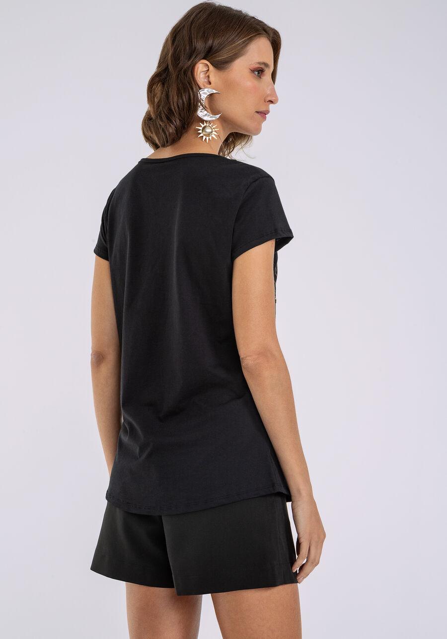 T-shirt Estampada Corrente Strass, PRETO, large.