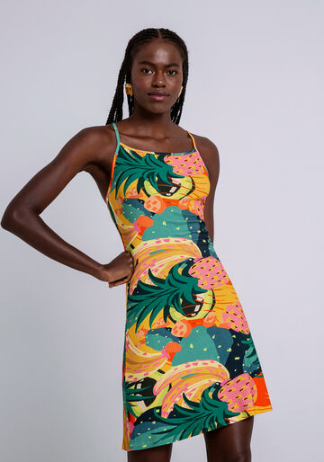 Vestido Estampado Canelado com Recorte, FRUTA DE PALMA, large.