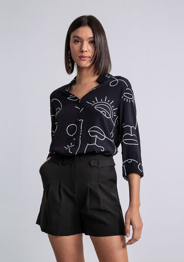 Camisa Manga 3/4 com Gola Estampada, TRACOS, large.