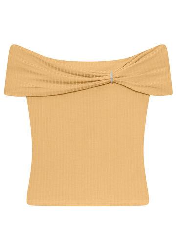 Blusa Malha Canelado Tracy, BEGE, large.