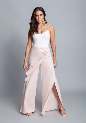 Calça Tecido Linho Washed Plus Pantalona, ROSA, large.