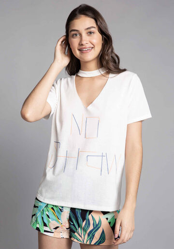 Blusa Choker Estampada ECO, BRANCO OFF WHITE, large.