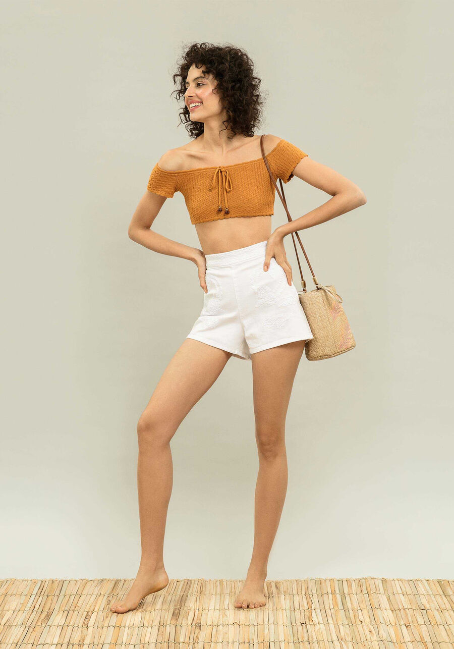Shorts Cintura Alta Bordado, , large.