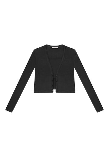 Cardigan Cropped com Top Reto, PRETO, large.