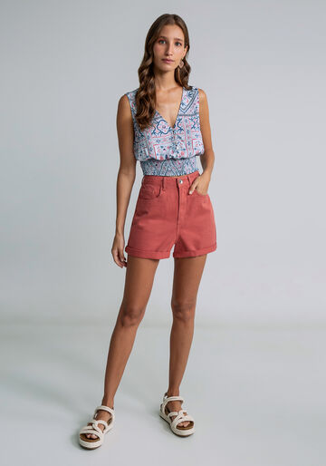 Shorts Sarja Mommy Cintura Alta, ROSA, large.