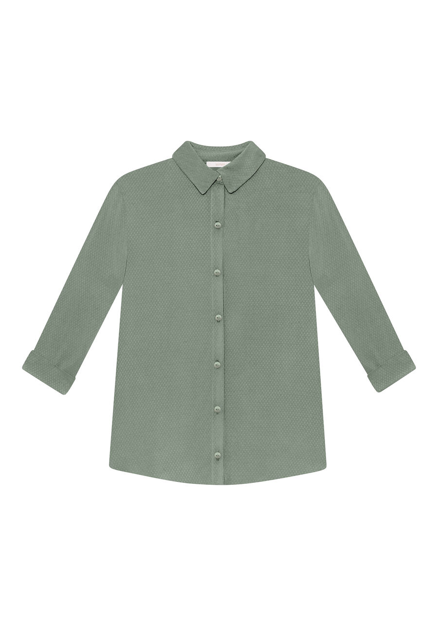 Camisa Manga 3/4 com Gola, VERDE, large.
