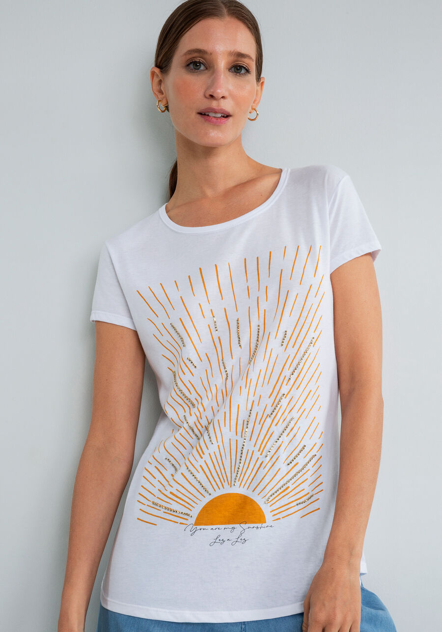 T-shirt Estampada Corrente Strass, BRANCO, large.