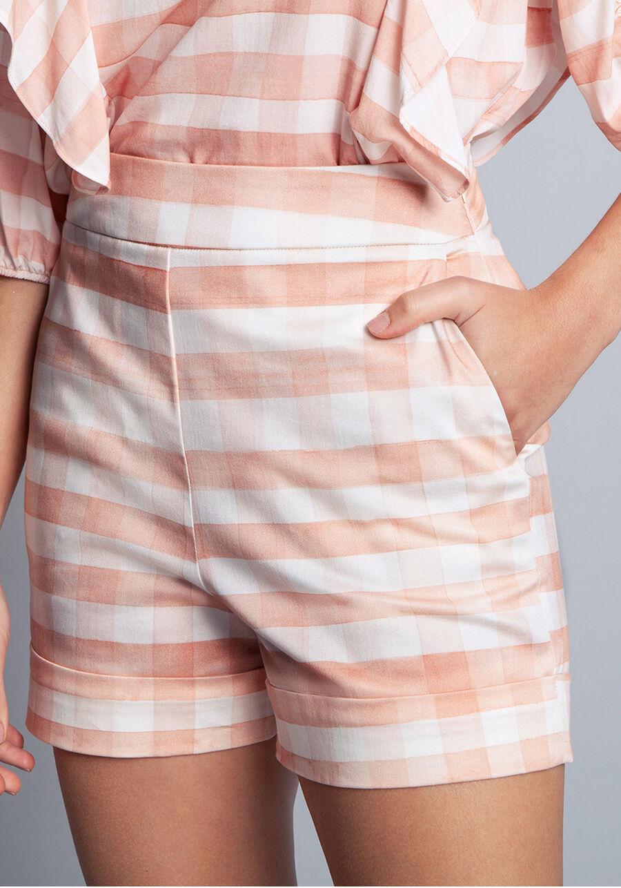 Shorts Tecido Cotton Satin Flora, VICHY, large.