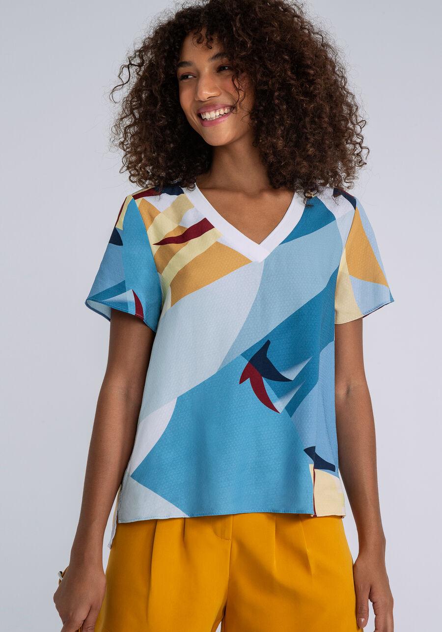 Blusa Decote V Retilínea Estampa, MIGRACAO, large.